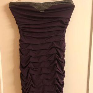 Plum cutout waist bodycon minidress